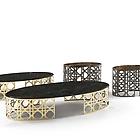 VITFRI VF50381Este Small table cm 120x58 Marmo D.E. Top marble Dark Emperador Metal frame bronzed coloured