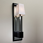 "CNT LALA AP ACAM.000445 LALA AP - WENGE-STAINED OAK BASE WITH MIRROR - SATIN NICKEL STEM - WHITE  COTTON SHADE ""CE"""