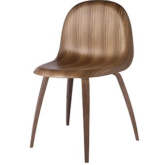 GUBI Gubi 5 21001-5-01 Wooden base in american walnut, non-stackable. , Chair shell american walnut.